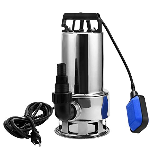 Stainless Steel Transfer Pump (1.5 HP Stainless Steel Submersible Sump Pump With 15ft Cable and Float Switch For Dirty Clean Pools Ponds Irrigation Sprinkling Water Pump [US Stock] (1.5 HP-Silver))