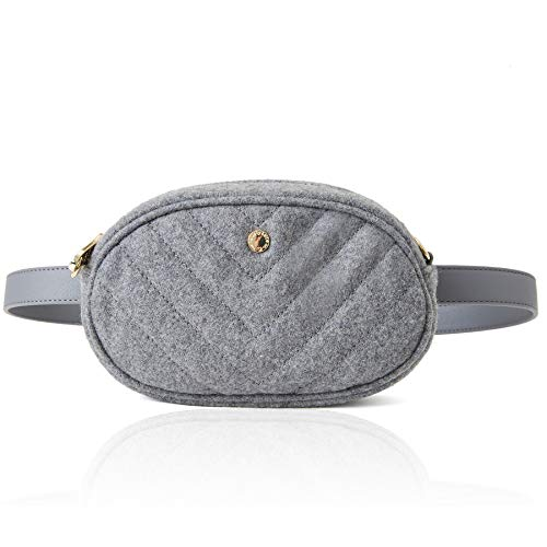 The Lovely Tote Co. Women's Quilted Wool Felt 2 Ways Fanny Pack Waist Bag Cross-body Bag,One,Heather -