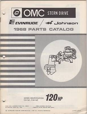 1968 OMC EVINRUDE JOHNSON STERN DRIVE 120HP PARTS MANUAL P/N - Stern 1968 Omc Drive