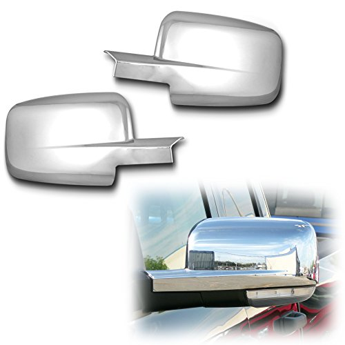 AutoModZone Chrome ABS Side View Mirror Full Mirror Cover 2-pc Set for 09-17 Dodge Ram 1500 without Turn Signal Cutout