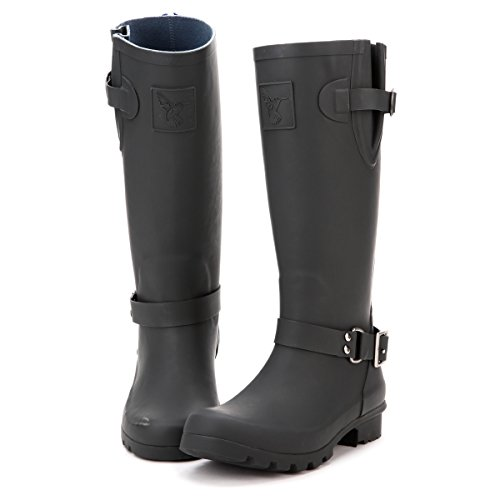 Evercreatures Rain Boot Gumboots Triumph Wellies Tall Black Gray Faux Zip Wellington Boots(The Size in The Sole are UK Size and EU Size JLOaLN
