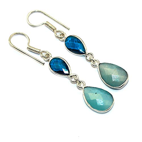 925 Sterling Silver Overlay Chalcedony Blue topaz Earring Jewelry for bride (Topaz Blue Chalcedony Earrings)