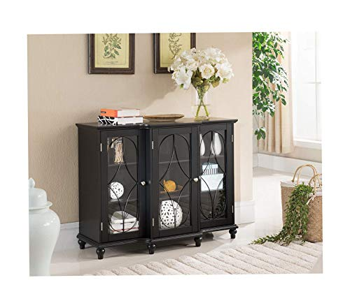 Kings Brаnd Furniturе Wood Storage Sideboard Buffet Cabinet Console Table (Black)