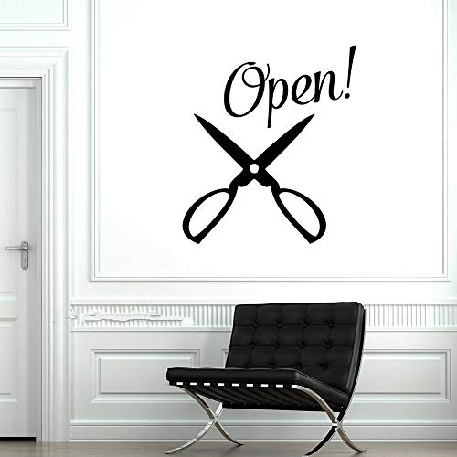 briend Quotes Vinyl Wall Art Decals Saying Words Removable Lettering Open Hair Salon Sign Scissors Logo Barbershop]()