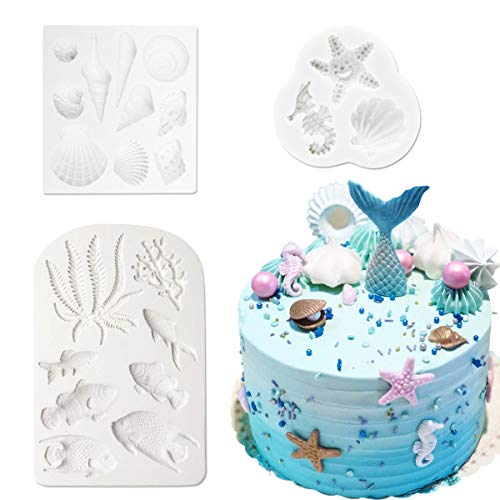 Cieovo Marine Theme Cake Fondant Mold - Seaweed Fish Seashell Silicone Mold for Mermaid Theme Cake Decoration Chocolate Candy Polymer Clay Cupcake Cookie Jelly Sugar Craft ()