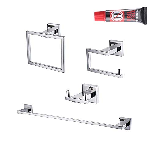 Kes 4-Piece Bathroom Accessory Set No Drill Glue RUSTPROOF Without Drilling Screw Free Wall Mount Polished SUS 304 Stainless Steel, ()