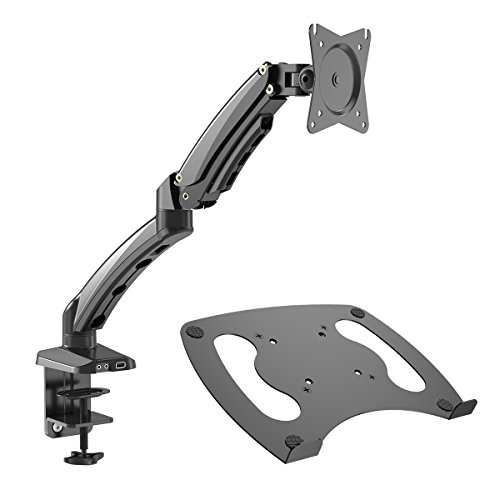 Gibbon Mounts Monitor Desk Mount with Full Motion Gas Spring Riser VESA 75X75 and 100X100 or Free Removable Strong Steel Tray for Laptop 13