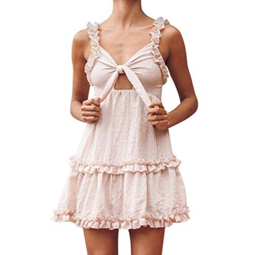 - Women Dress Vintage Lovely Strappy Mini Dress, CSSD Summer Sexy Dress Ruffle Dresses (S, Khaki)