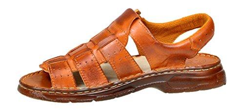 Herren Bequeme Sandalen Schuhe Mit Der Orthopadischen Einlage Aus Echtem Buffelleder Hausschuhe Modell 817 Kognak
