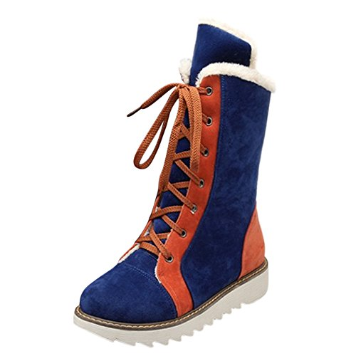 fereshte New Womens Lace UP Fleece Lined High Top Nubuck Snow Boots Blue ox3vYPyT9
