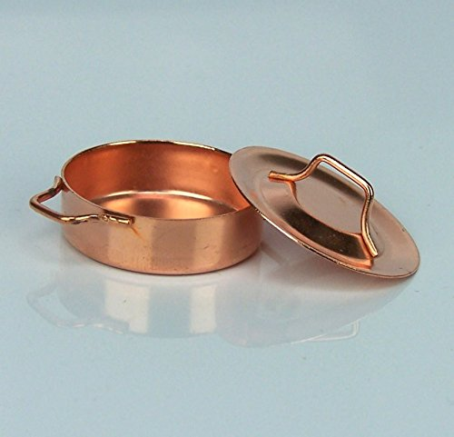 Mini Kochtopf mit Deckel aus Kupfer. 3 cm. für Krippe, Weihnachtskrippe. W069