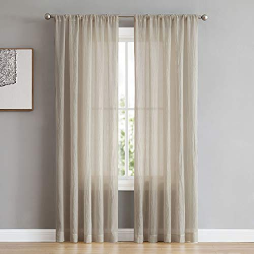 (French Connection Rosa Window Curtain Panel Pair 104 in. x 84 in. Sand)