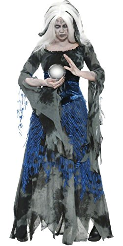 Ladies Ragged Witch Clairvoyant Fortune Teller Gypsy Full Length Long Halloween Fancy Dress Costume Outfit UK 8-18 (UK 12-14) -