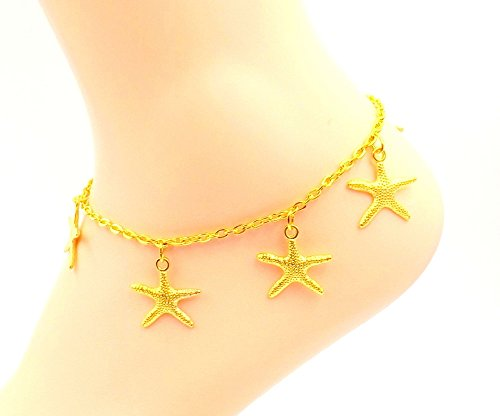 [Starfish Anklet - Gold-plated Ankle Bracelet- Sizes 8-11 - Ocean Lovers Collection] (Easy Starfish Costume)