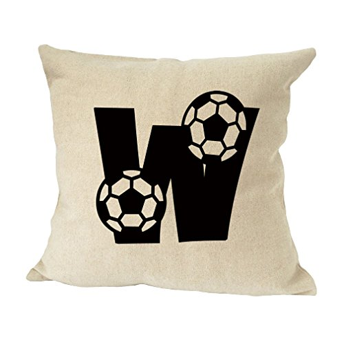 ''W '' Soccer Initial Monogram Letter W Bed Home Decor Faux Linen Pillow Cover by Style in Print