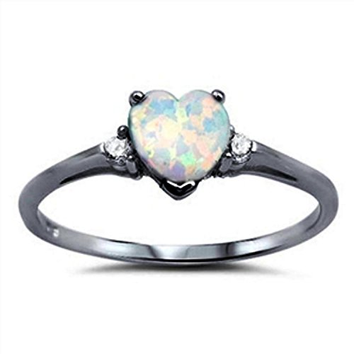 925 Sterling Silver Promise Ring Heart Shaped Lab Created White Opal Black Tone Rhodium PL Clear CZ ()
