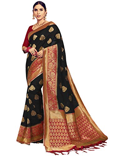 (Sarees for Women Banarasi Art Silk Woven Saree l Indian Ethnic Wedding Gift Sari with Unstitched Blouse Black)