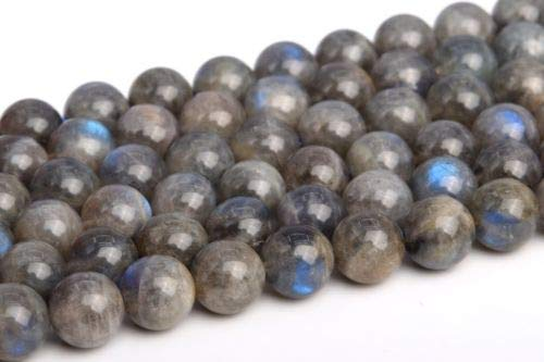 8-9mm Genuine Natural Light Gray Lradorite Grade A Round Loose Beads 15.5'' Crafting Key Chain Bracelet Necklace Jewelry Accessories Pendants (Mlb Genuine Necklace)