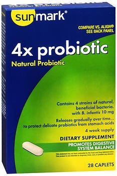 Sunmark 4x Probiotic Natural Probiotic Caplets - 28 caplets, Pack of 6