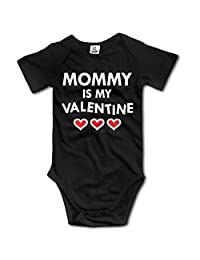 Infant Baby Clothes Mommy Is My Valentine Short-Sleeveless Romper Creeper