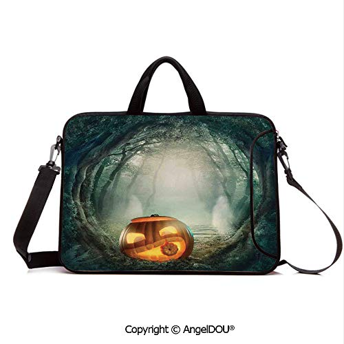 AngelDOU Neoprene Laptop Shoulder Bag Case Sleeve with Handle and Extra Pocket Scary Halloween Pumpkin Enchanted Forest Mystic Twilight Party Art Compatible with MacBook/Ultrabook/HP/Acer/Asus/Dell/ -