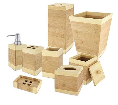 8 Piece Bamboo Bathroom Set