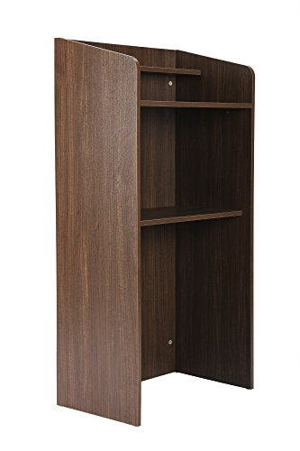 FIVEGIVEN Standing Lectern Podium, Floor Lectern with Shelf Espresso