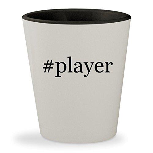 #player - Hashtag White Outer & Black Inner Ceramic 1.5oz Shot Glass (Player Sigo Mp3)