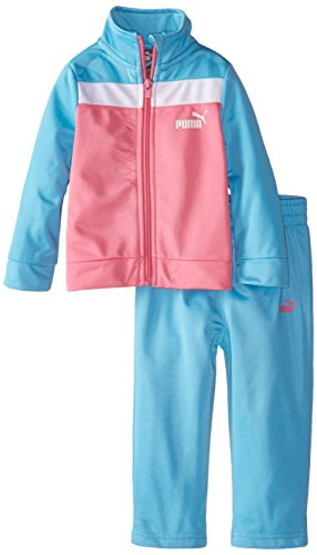 PUMA Baby Girls' Jacket and Pant Tricot Set, Prink/Turq, 12 (Tri Color Kids Jacket)