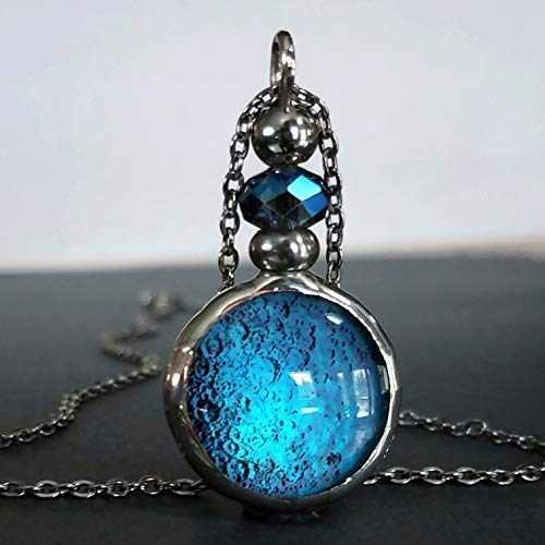 Celestial Jewelry Luminous Full Moon Necklace Handmade in Dichroic Glass Lunor Night Blue Moon Pendant