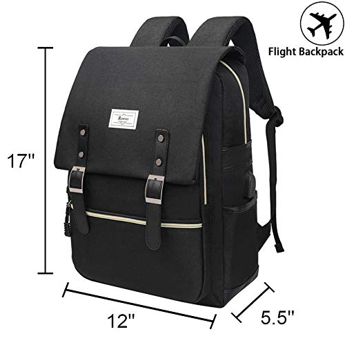 Unisex College Bag Fits up to 15.6'' Laptop Casual Rucksack Waterproof School Backpack Daypacks (AllBlackWithUSB) by Ronyes (Image #1)