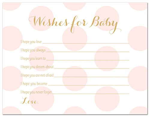 48 Polka Dots Gold Baby Shower Wish Card (Pink)