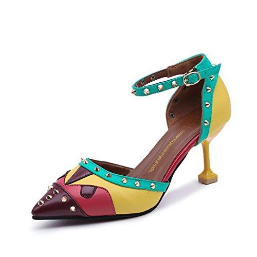 con los de empalme 34 elegante mujer versátil Zapatos El y Punta chica para zapatos fina sandalias Verde w8IcxfqH