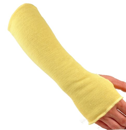 G & F 58123-1 100% Kevlar 18-Inch Cut Resistant Knit Sleeve with Thumb Hole, Yellow, Sold by 1 piece (Sleeve Yellow Kevlar)