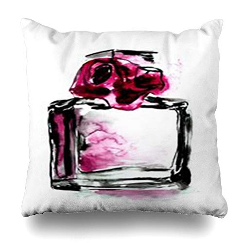 Homeyard Throw Pillow Cover Perfume Bottle Fragrance Rose Watercolor Pink Black On Sketch Aroma Bouquet Color Graphic Home Decor Sofa Cushion Square Size 18 x 18 Inches Zippered ()