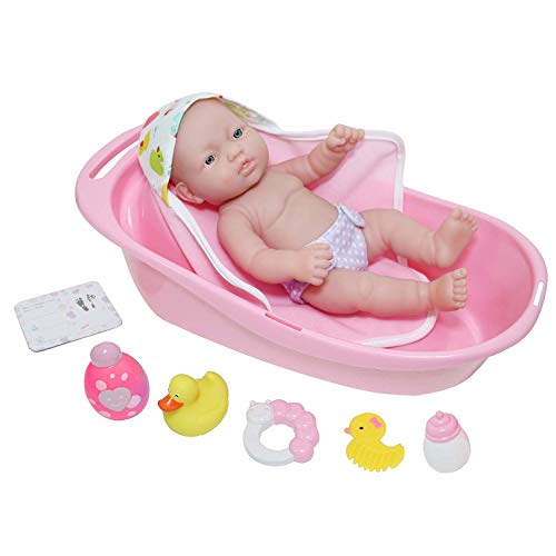 "JC Toys - La Newborn | 10 piece Layette Deluxe Bathtub Gift Set | 12"" Life-Like Vinyl Newborn Doll with Accessories 