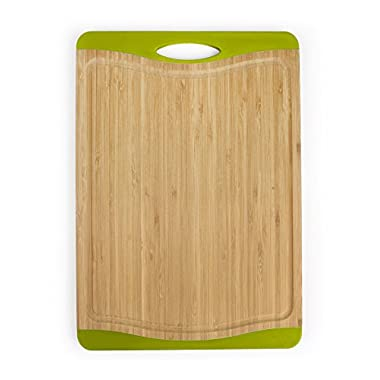 Neoflam Flutto 11  Bamboo Cutting Board with Non-Slip Edges and Drip Groove, Green