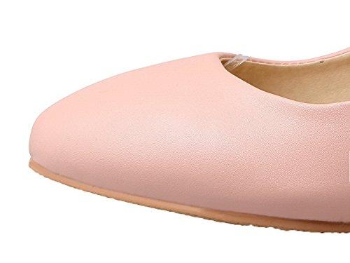 Flats Luccichio Tonda Fibbia Ballet AllhqFashion Rosa Tacco Punta Medio Donna Puro Swq5TRzp