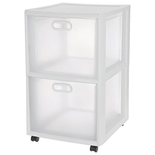 Sterilite 36208002 18'' X 16'' X 24.63'' Clear And White Ultra 2-Drawer Cart by STERILITE