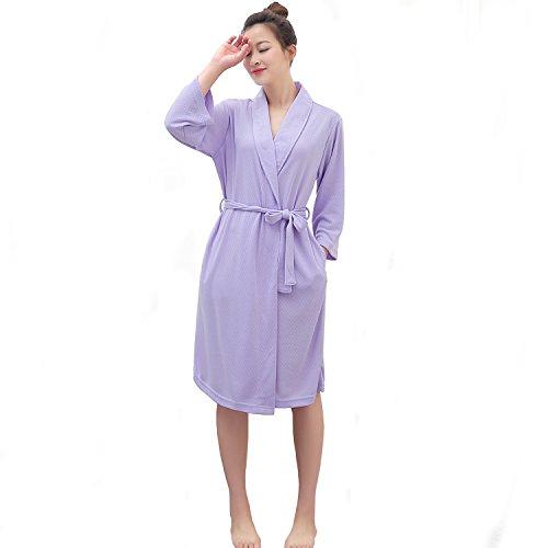 Summer Weight (LOFIR Womens Waffle Bathrobe 3/4 Long Sleeves Kimono Lightweight Pajamas Loungewear Summer Hotel Spa Robe With Belt)