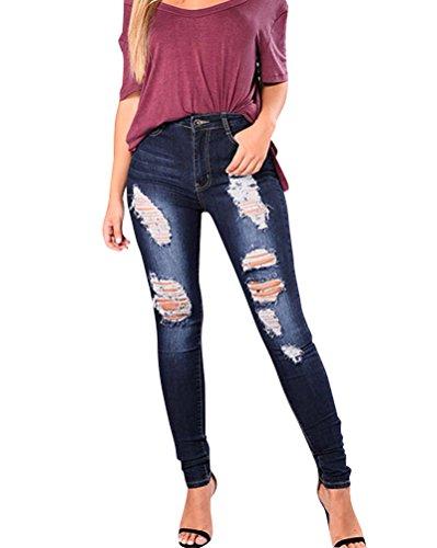 Jeans Dchirs Trous  Taille Haute En Denim Pantalons Femme Confortable Bleu Fonc