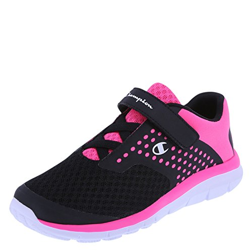 Champion Girls' Black Pink Mesh Girls' Gusto Strap Cross Trainer 4 Regular