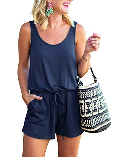 (REORIA Womens Casual Summer One Piece Sleeveless Tank Top Striped Playsuits Short Jumpsuit Beach Rompers Navy Blue Medium)
