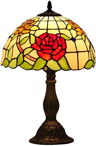 Mural Times Lighting Tiffany Table Lamp W12H18 Inch Elegant Red Rose Floral Stained Glass Light Shade Antique Bedside Table Reading Light