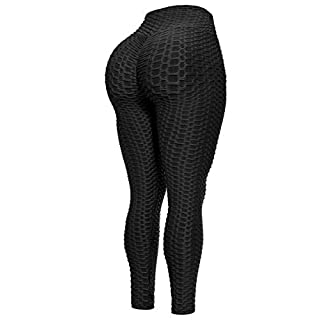 Beyondfab Women's High Waist Textured Butt Lifting Slimming Workout Leggings Tights Black SM