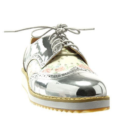 low Angkorly perforado Plata 5 flores zapato Moda derby 2 Talón trenzado Plataforma CM Zapatillas de mujer XHqwXr
