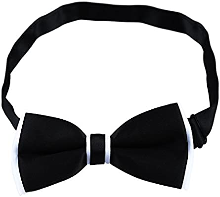 TOOGOO Corbata de mono color solido formal empalme de doble capa ...