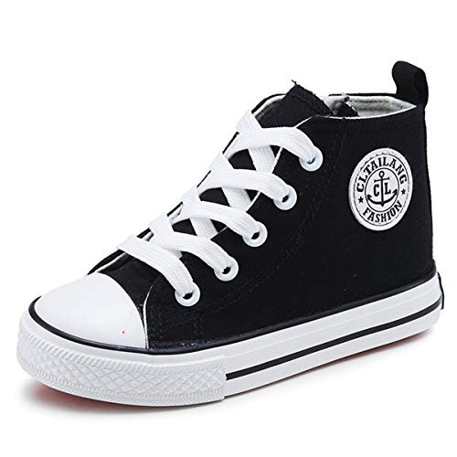 E-FAK Toddler Kids Boys Girls Canvas Sneakers High Top Lace up Casual Walking Shoes(Toddler/Little Kid/Big Kid) (3.5 M US Big Kid, A-Black)