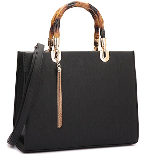 MKP Collection Bamboo Handle Smooth Leather Medium Satchel~Beautiful Woman Handbag~Multi Color Choose~Fashion Shoulder handbag~Classic Bag(2575) Black by Maya Karis Purse
