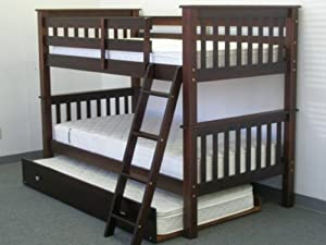 Bedz King Bunk Bed,Twin Over Twin Mission Style